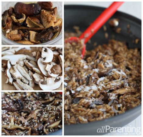 Mushroom risotto collage