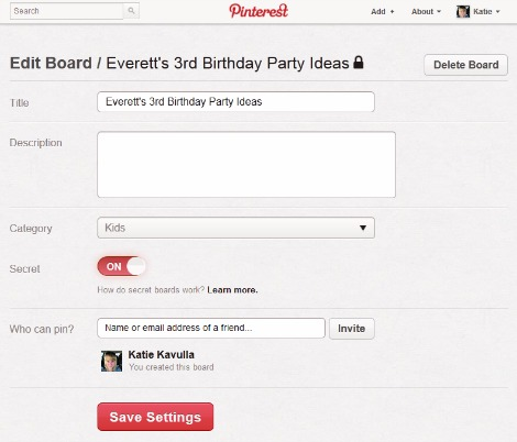 pinterest secret board desktop