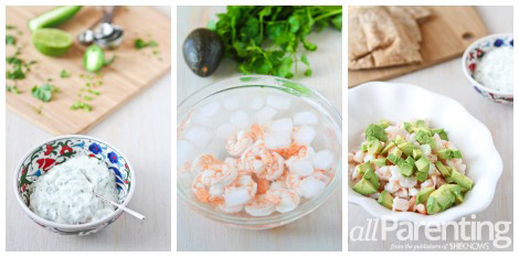 Spicy shrimp pita sandwich with yogurt dressing collage