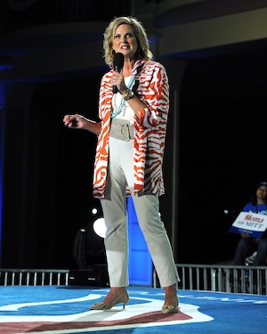 Ann Romney in casual attire gives a speech.