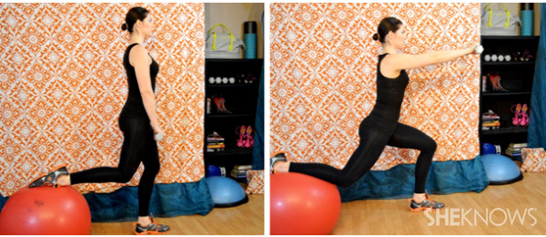 Balance lunge with front raise