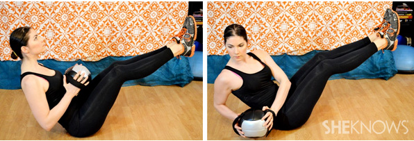Oblique twist with medicine ball 1