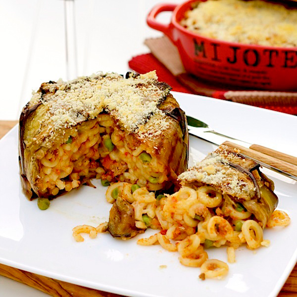 baked pasta with eggplant crust