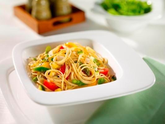 Barilla Whole Grain Spaghetti with fresh vegetables recipe