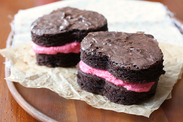Brownie heart sandwiches with raspberry buttercream