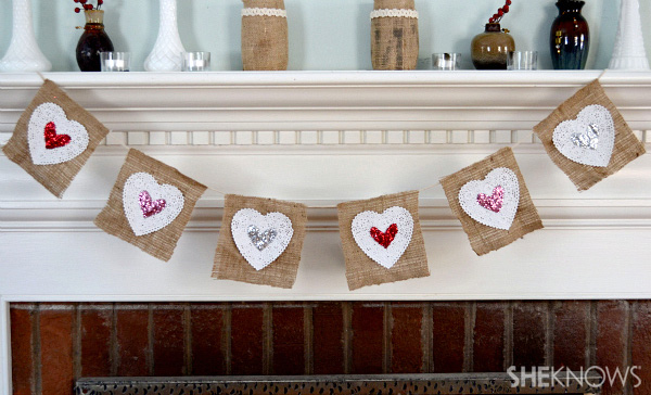 Burlap and lace Valentine's day banner