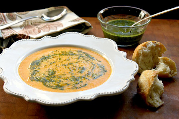 Adding the hot chili cilantro oil to this carrot ginger soup takes it ...