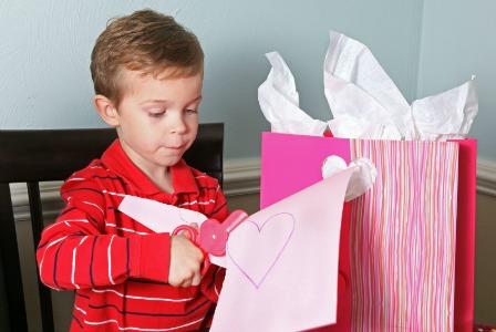 Child with Valentine's gift