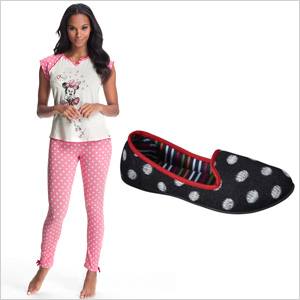 Minnie Mouse pajamas an polka dot slippers