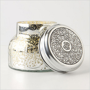 Mercury glass jar candle