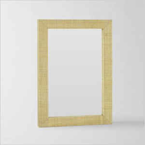 Grass cloth mirror