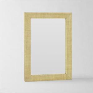 Grass cloth mirror