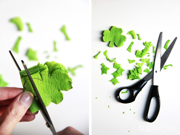 DIY St. Patrick's Day shamrock streamers -- Step 3
