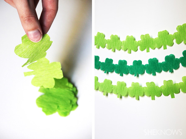 DIY St. Patrick's Day shamrock streamers -- Step 4