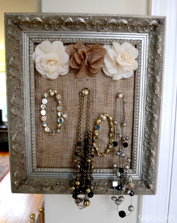 Easy diy framed jewelry holder for Picture frame organization wall