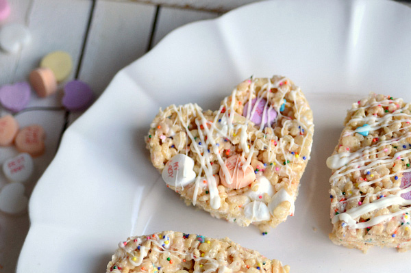 Funfetti conversation heart rice krispies