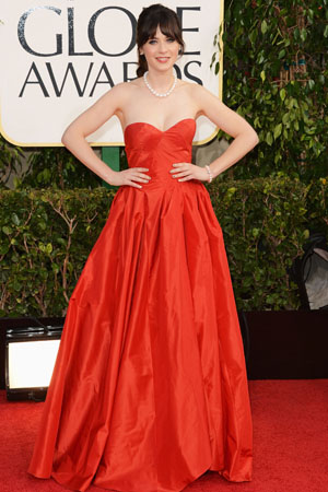 Zooey Deschanel at the Golden Globes
