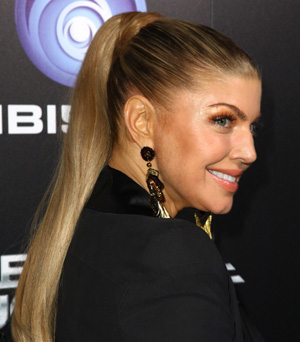 Fergie with a ponytail