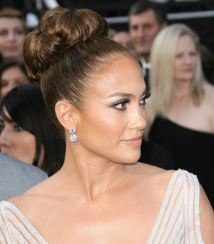 Jennifer Lopez with a sock bun