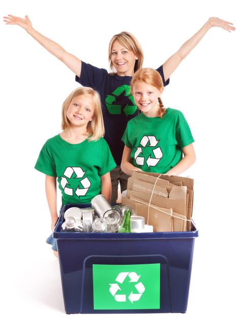 Happy family recycling