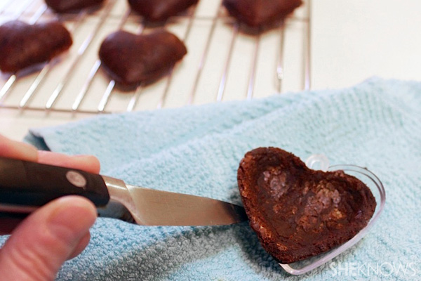 Heart-shaped brownie treasure boxes recipe -- remove