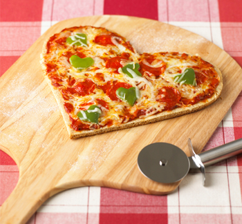 Heart shapped pizza