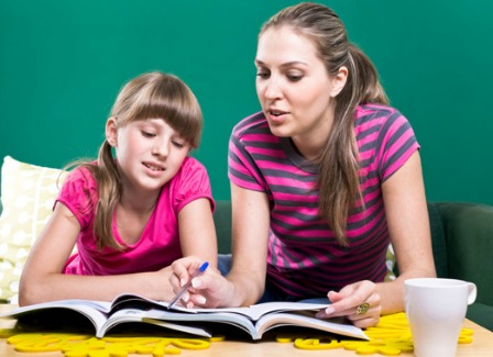 Homeschooling mom with daughter