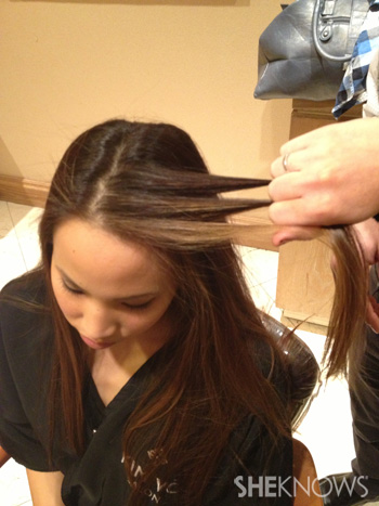 Get Lucy Liu's hairstyle from the 2013 Golden Globes -- Step 2