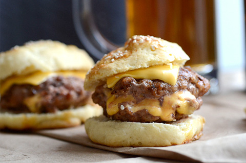 Juicy Lucy sliders with homemade buns