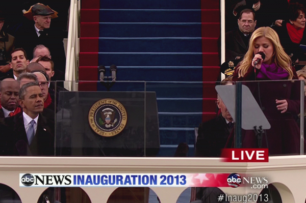 President Obama and Kelly Clarkson at the inauguration