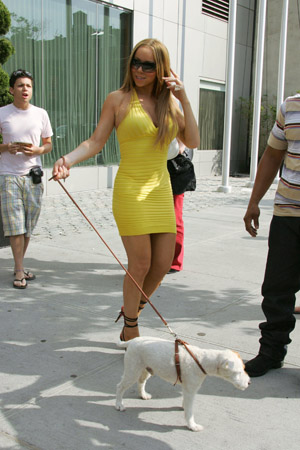 Mariah Carey walking a dog