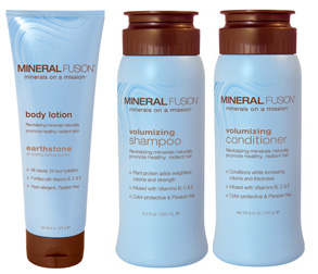 Mineral Fusion body lotion, shampoo, and conditioner