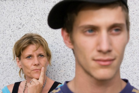 Mom with teen son