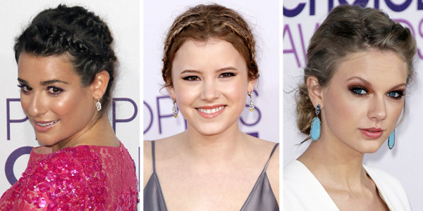 Lea Michele and Taylor Spreitler's braids and Taylor Swift's loose updo at the People's Choice Awards
