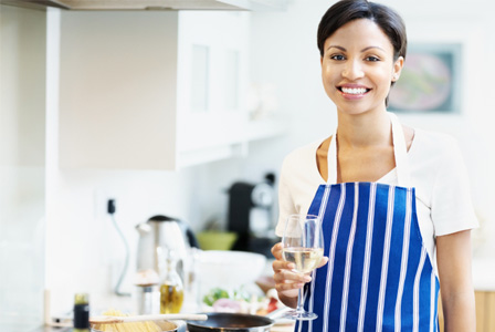 Relaxed woman cooking