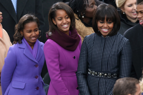 Sasha Obama, Malia Obama, Michelle Obama at the inauguration