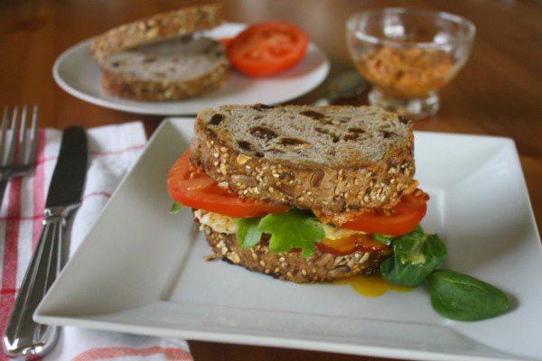 BELT sandwiches with sun-dried tomato spread