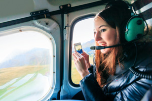 Woman in helicopter
