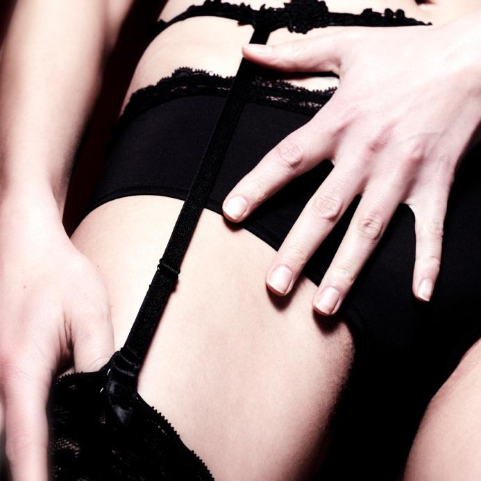 Woman wearing garter belt