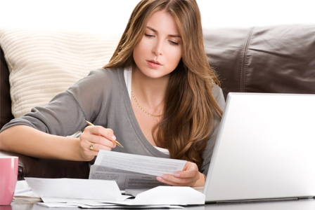 Woman working on her taxes