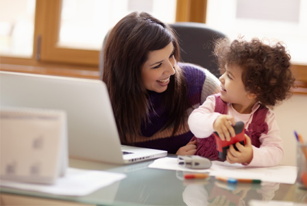 Working mom with daughter