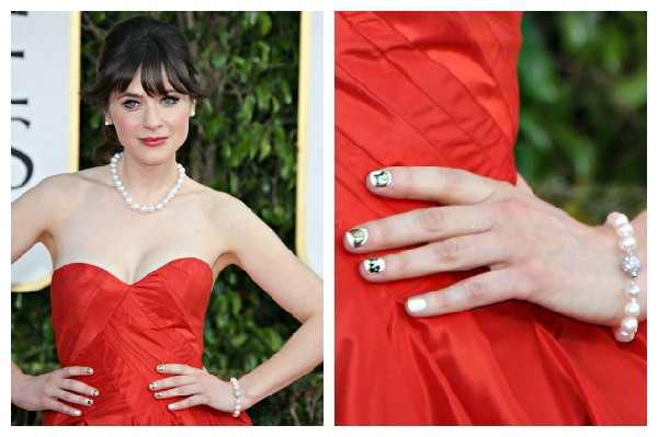 Zooey Deschanel's red-carpet nail art