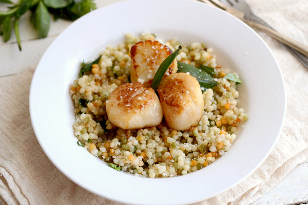 Scallops over tri-color couscous