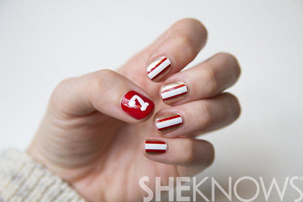 San Francisco 49ers superbowl nail art