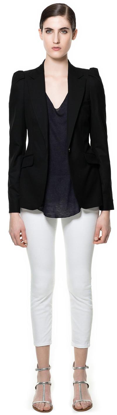 Woman wearing Zara blazer