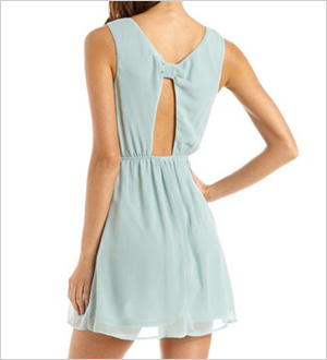 Bow-Back Studded Chiffon Dress