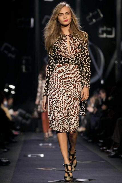 Cara Delivigne in Diane Von Furstenberg