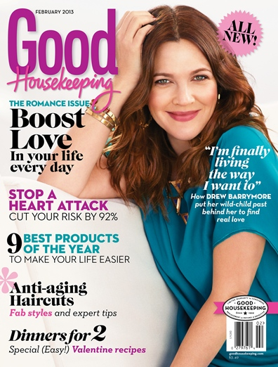 Drew Barrymore on Good Housekeeping February 2013