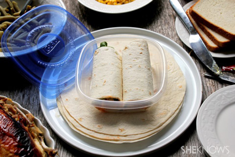 shredded chicken enchilada wraps packed