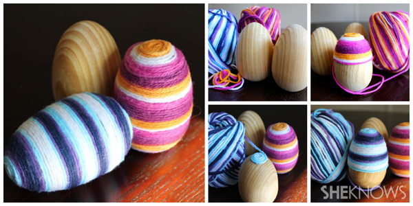 Yarn eggs collage